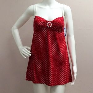 Nautica Red Polka Dot Dress One piece bathing Suit
